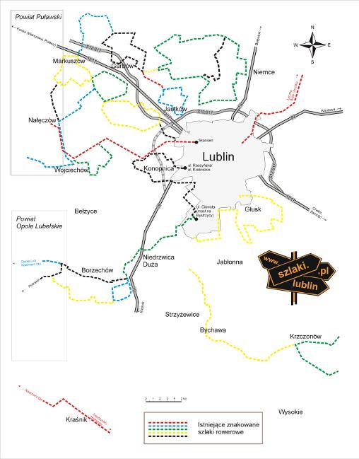 sieć szlaków rowerowych okolic Lublina - linki